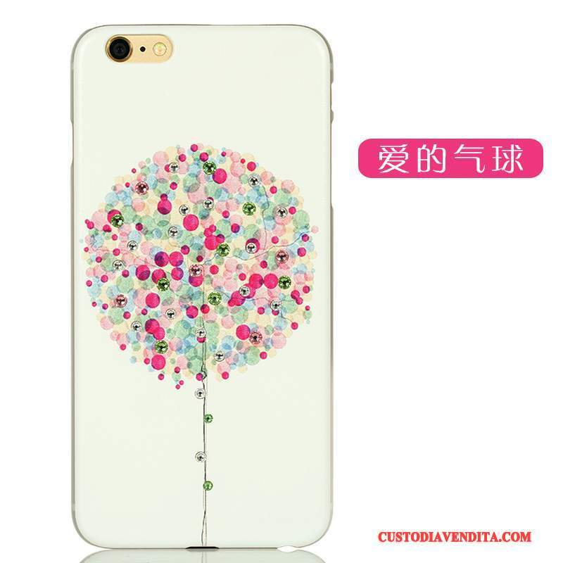 Custodia iPhone 6/6s Plus Cartone Animato Chiaro Difficile, Cover iPhone 6/6s Plus Strass Verde Macchiati