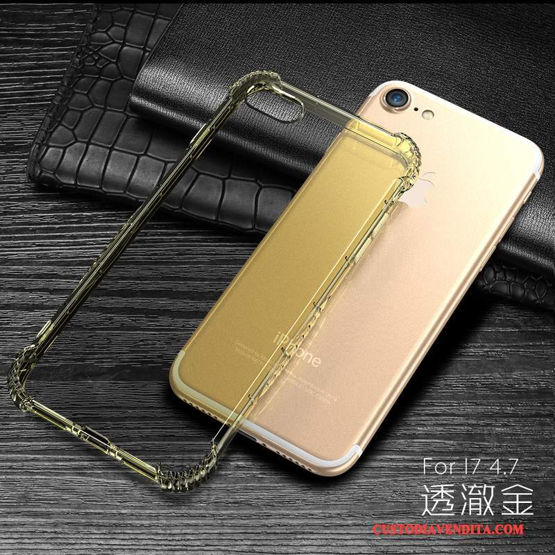 Custodia iPhone 7 Silicone Tutto Incluso Oro, Cover iPhone 7 Anti-cadutatelefono