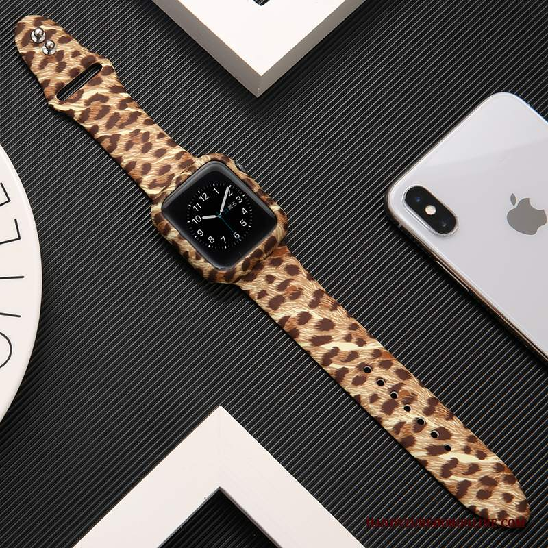 Custodia Apple Watch Series 2 Silicone Marchio Di Tendenza Leopardate, Cover Apple Watch Series 2 Protezione Stampa Cachi