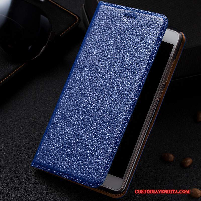 Custodia Htc One A9s Folio Telefono Blu, Cover Htc One A9s Pelle Litchi Anti-caduta