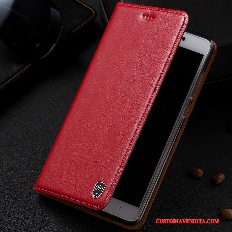 Custodia Htc One A9s Pelle Anti-cadutatelefono, Cover Htc One A9s Folio Modello Rosso