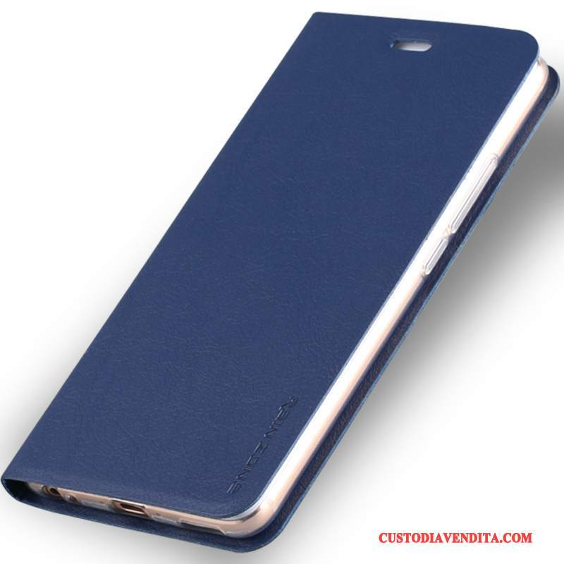 Custodia Htc One M7 Pelle Telefono Blu Scuro, Cover Htc One M7 Folio
