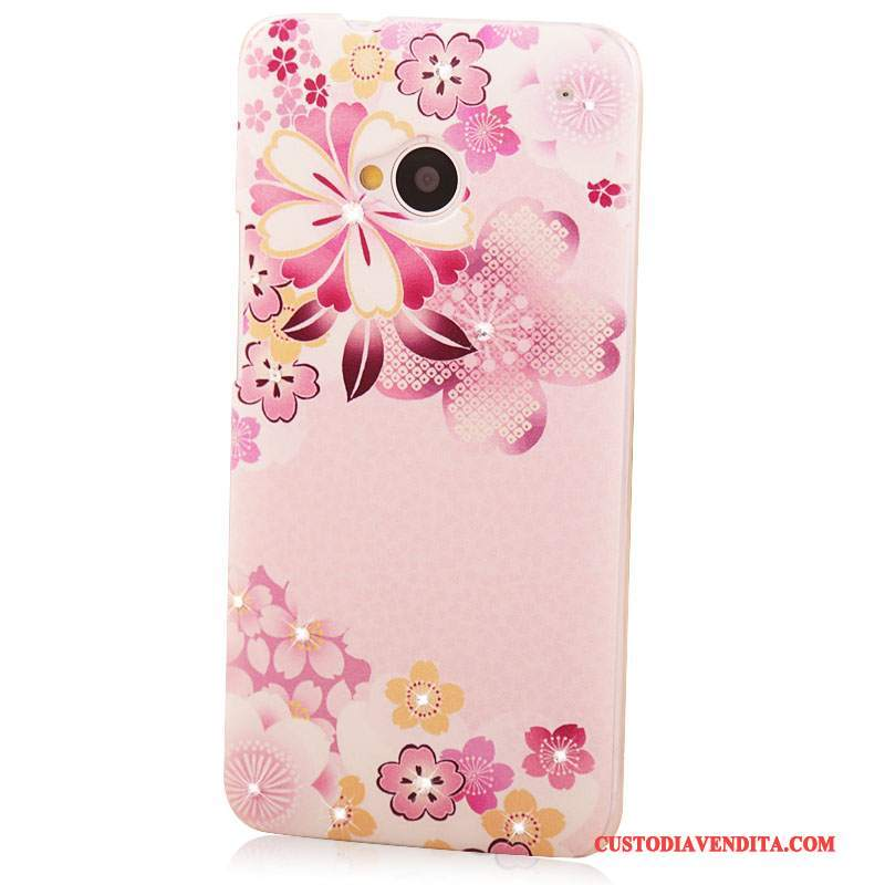 Custodia Htc One M7 Strass Rosatelefono, Cover Htc One M7 Colore