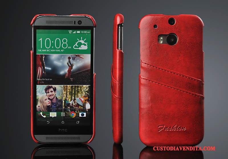 Custodia Htc One M8 Pelle Cartatelefono, Cover Htc One M8 Protezione Tendenza Coperchio Posteriore
