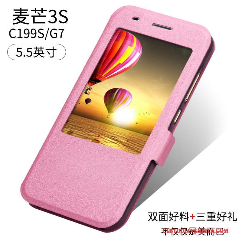Custodia Huawei Ascend G7 Folio Anti-caduta Rosa, Cover Huawei Ascend G7 Pelle Tutto Inclusotelefono