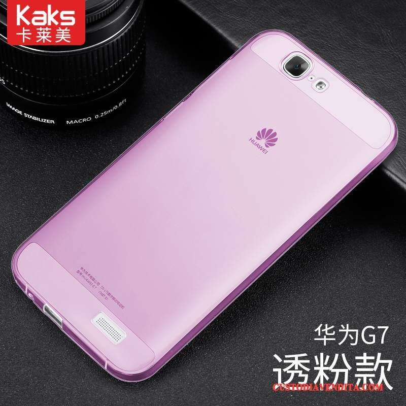 Custodia Huawei Ascend G7 Silicone Telefono Rosa, Cover Huawei Ascend G7 Protezione Leggere Trasparente
