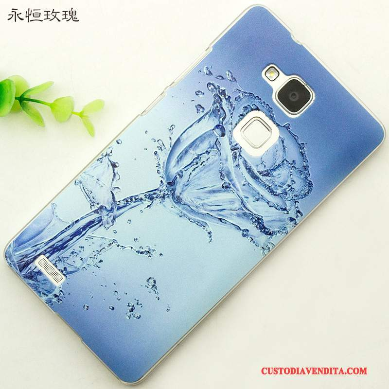 Custodia Huawei Ascend Mate 7 Creativo Fresco Anti-caduta, Cover Huawei Ascend Mate 7 Goffratura Tendenza Blu
