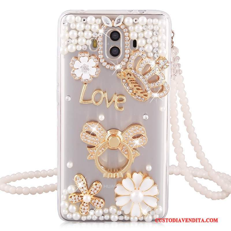 Custodia Huawei Mate 10 Strass Morbido Tutto Incluso, Cover Huawei Mate 10 Silicone Anti-caduta Ornamenti Appesi