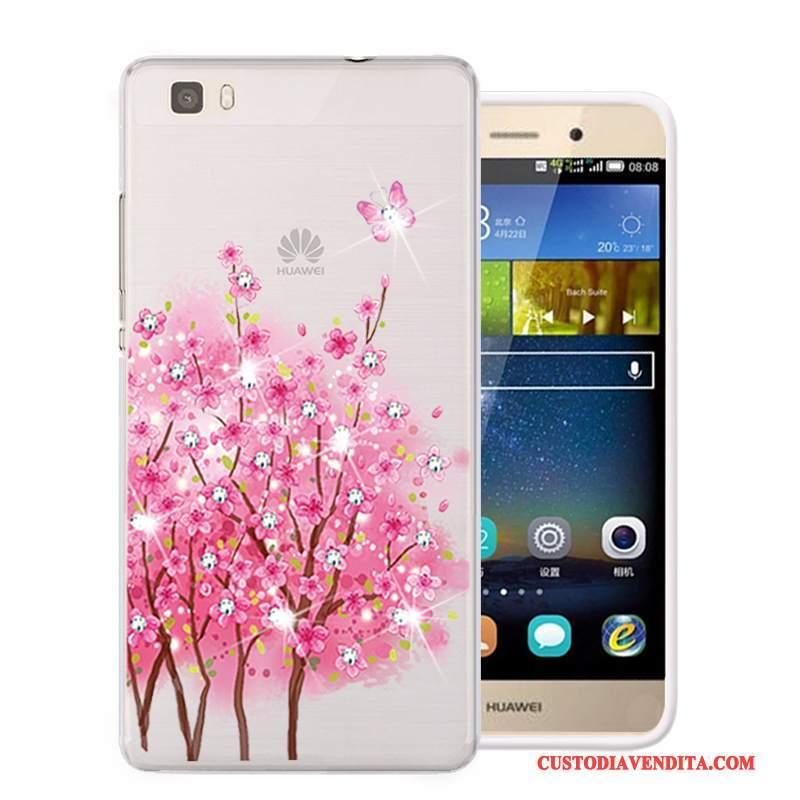 Custodia Huawei P8 Lite Strass Morbido Rosa, Cover Huawei P8 Lite Protezione Telefono Gioventù