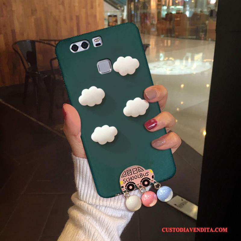 Custodia Huawei P9 Plus Silicone Marchio Di Tendenza Verde Scuro, Cover Huawei P9 Plus Tridimensionale Anti-caduta