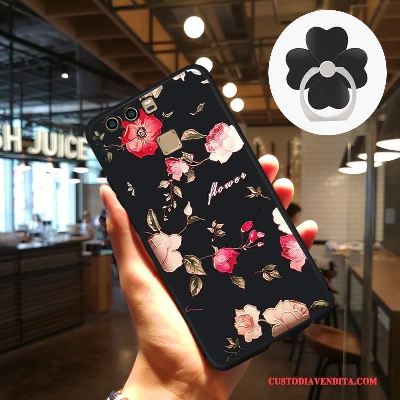 Custodia Huawei P9 Protezione Artetelefono, Cover Huawei P9 Goffratura Tendenza Nero