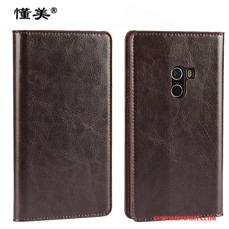 Custodia Mi Mix 2 Folio Anti-caduta Piccola, Cover Mi Mix 2 Pelle Magliatelefono