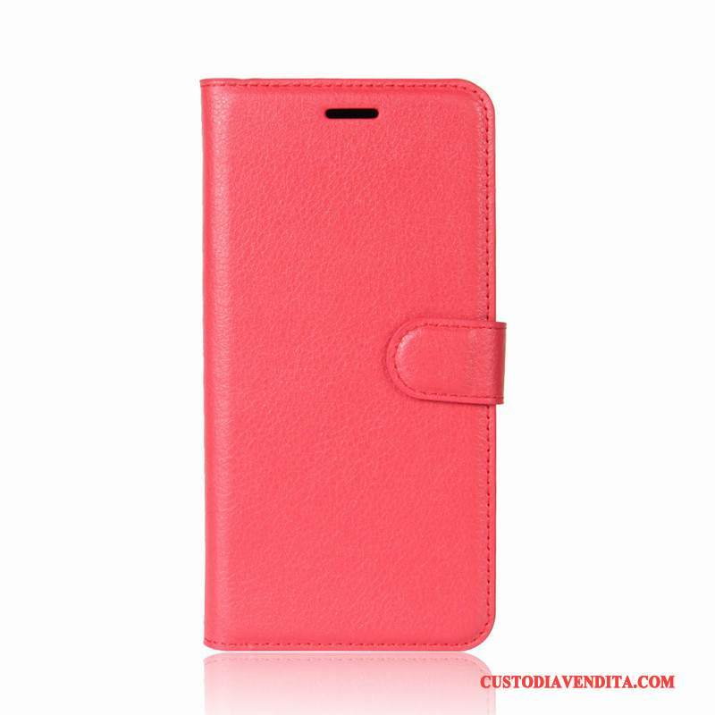 Custodia Moto E4 Plus Pelle Rosso Morbido, Cover Moto E4 Plus Folio Cartatelefono