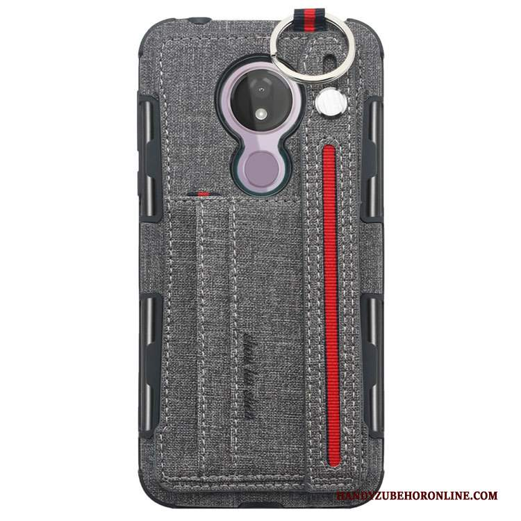 Custodia Moto G7 Power Pelle Telefono Ornamenti Appesi, Cover Moto G7 Power Creativo Grigio Supporto