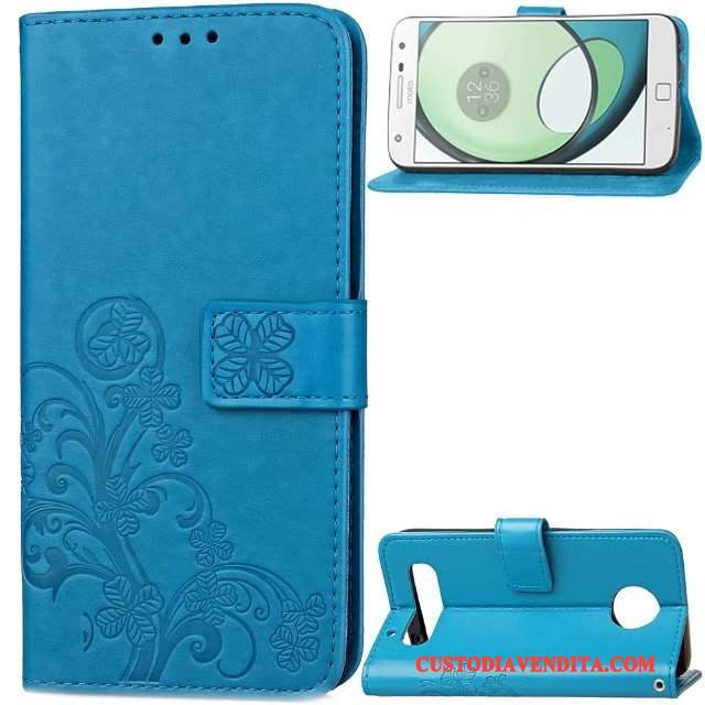 Custodia Moto Z Play Pelle Affari Blu, Cover Moto Z Play Folio Tendenza Anti-caduta