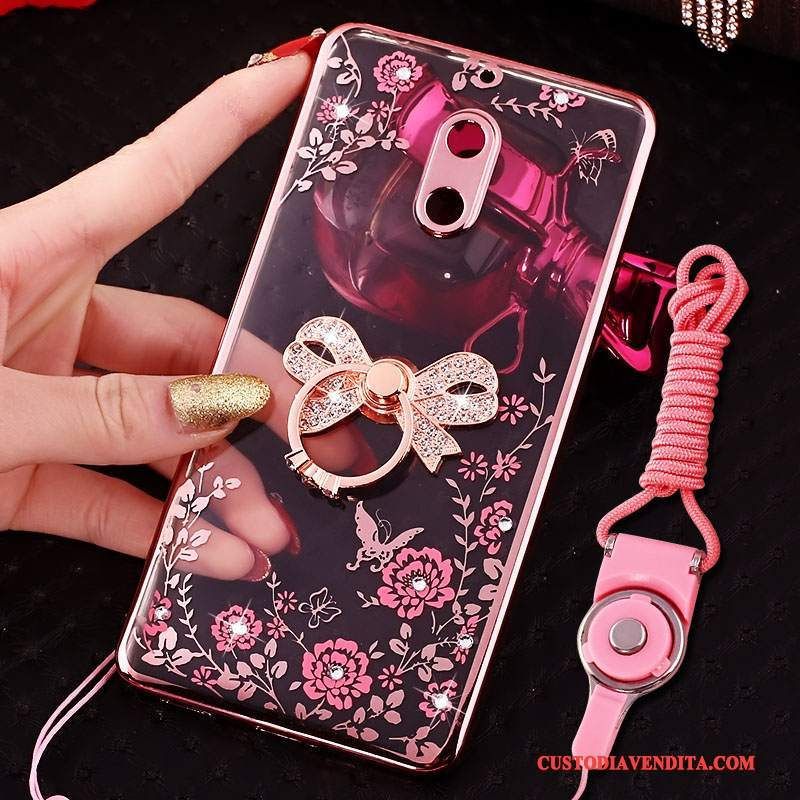 Custodia Nokia 6 Creativo Tendenza Rosa, Cover Nokia 6 Strass Telefono Ring