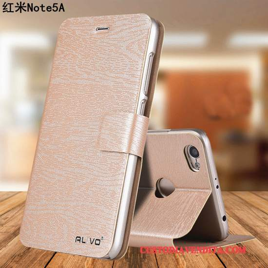 Custodia Redmi Note 5a Pelle Rossotelefono, Cover Redmi Note 5a Folio Piccola Oro