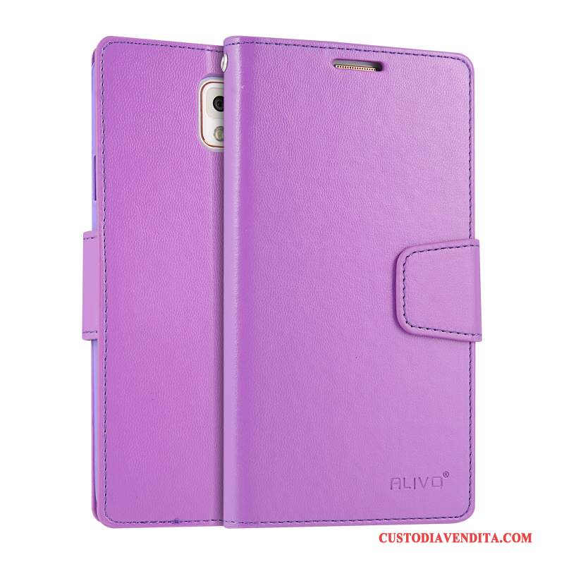 Custodia Samsung Galaxy Note 3 Folio Porpora Morbido, Cover Samsung Galaxy Note 3 Protezione Telefono