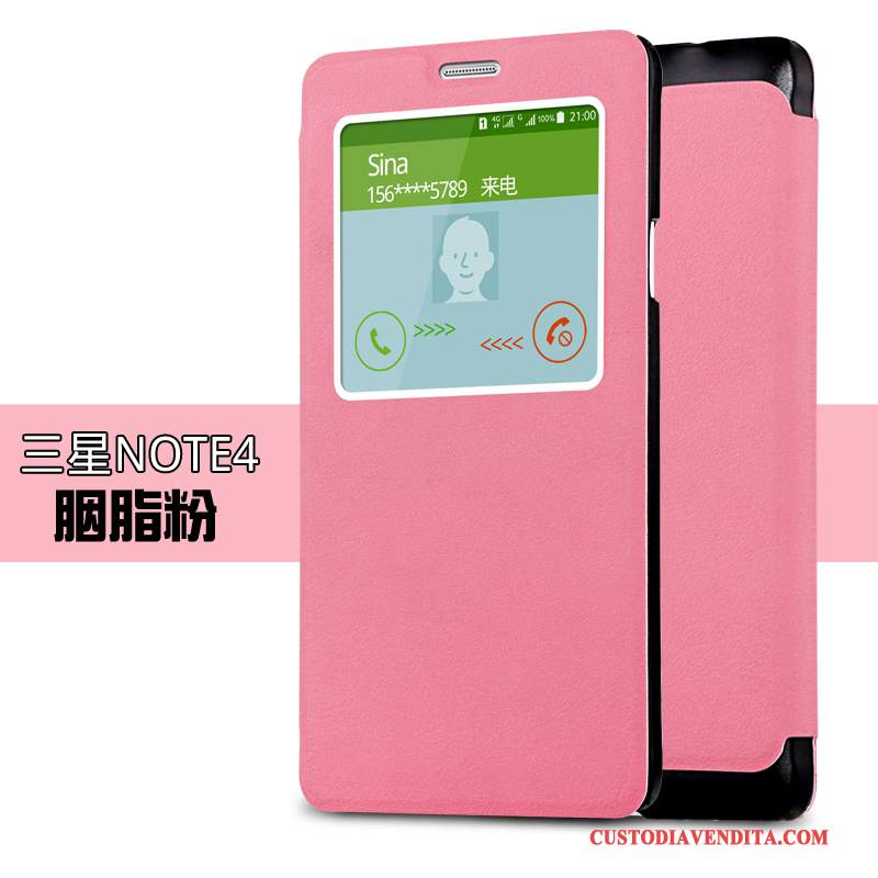 Custodia Samsung Galaxy Note 4 Pelle Belli Rosa, Cover Samsung Galaxy Note 4 Folio Tendenzatelefono