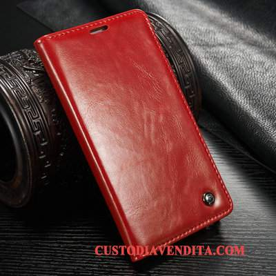 Custodia Samsung Galaxy Note 5 Folio Rosso Carta, Cover Samsung Galaxy Note 5 Pelle