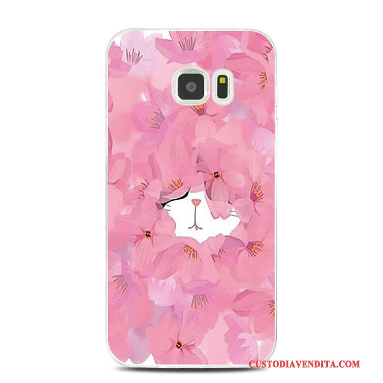 Custodia Samsung Galaxy Note 5 Goffratura Rosa Morbido, Cover Samsung Galaxy Note 5 Silicone Tutto Inclusotelefono