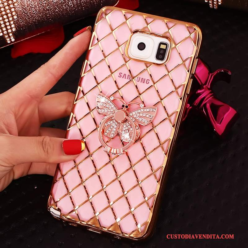 Custodia Samsung Galaxy Note 5 Strass Rosa Ring, Cover Samsung Galaxy Note 5 Protezione Sottile