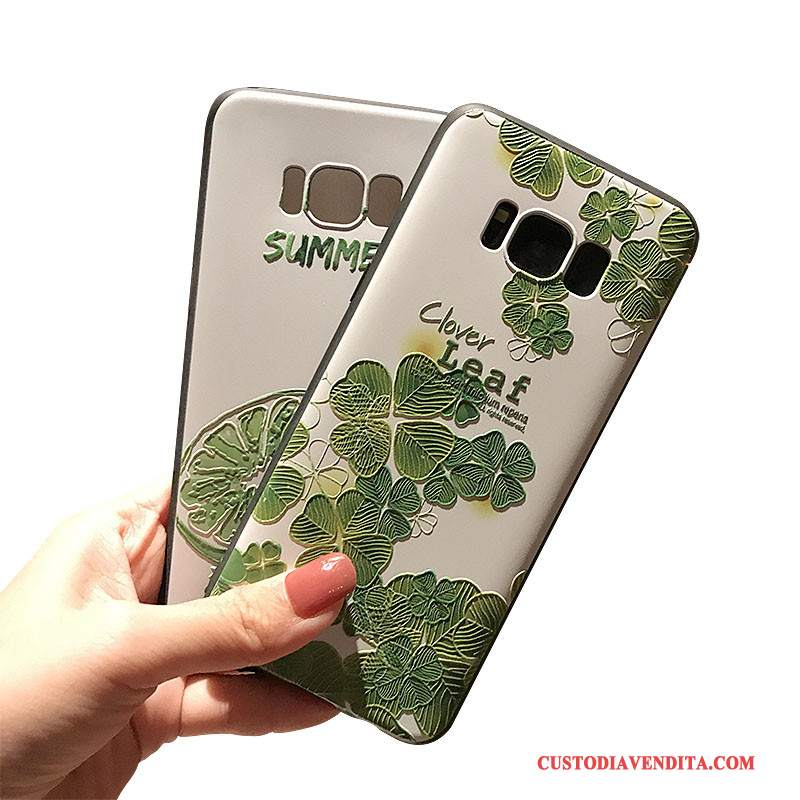 Custodia Samsung Galaxy Note 8 Goffratura Verde Macchiati, Cover Samsung Galaxy Note 8 Nero Morbido