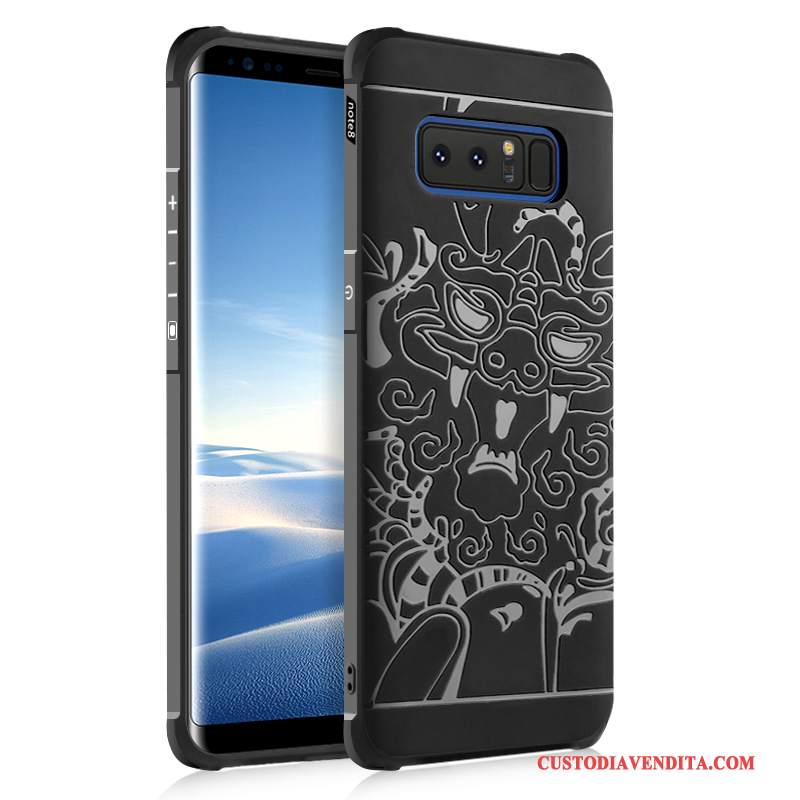 Custodia Samsung Galaxy Note 8 Silicone Anti-caduta Nero, Cover Samsung Galaxy Note 8 Telefono Morbido