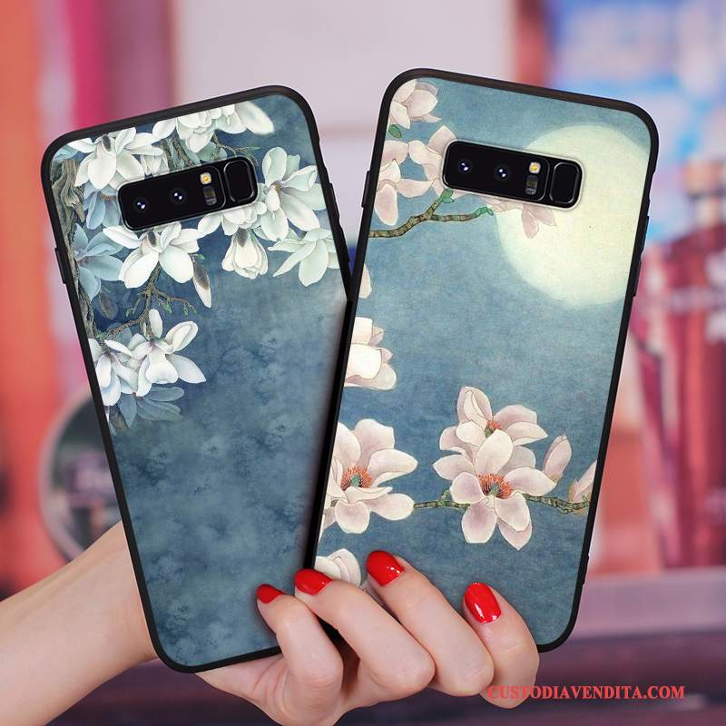 Custodia Samsung Galaxy Note 8 Vintage Tutto Incluso Morbido, Cover Samsung Galaxy Note 8 Silicone Telefono Fiori