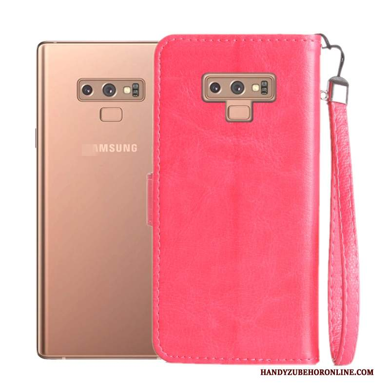 Custodia Samsung Galaxy Note 9 Folio Tutto Incluso Morbido, Cover Samsung Galaxy Note 9 Pelle Rosa Anti-caduta
