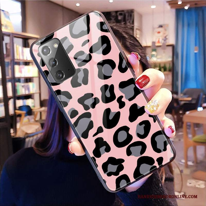 Custodia Samsung Galaxy Note20 Telefono Rosa, Cover Samsung Galaxy Note20 Vetro Leopardate
