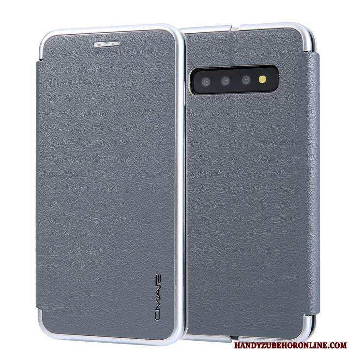 Custodia Samsung Galaxy S10+ Creativo Carta Grigio, Cover Samsung Galaxy S10+ Folio Tutto Incluso Anti-caduta