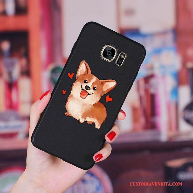 Custodia Samsung Galaxy S6 Edge + Cartone Animato Ornamenti Appesi Anti-caduta, Cover Samsung Galaxy S6 Edge + Silicone Morbido Nero