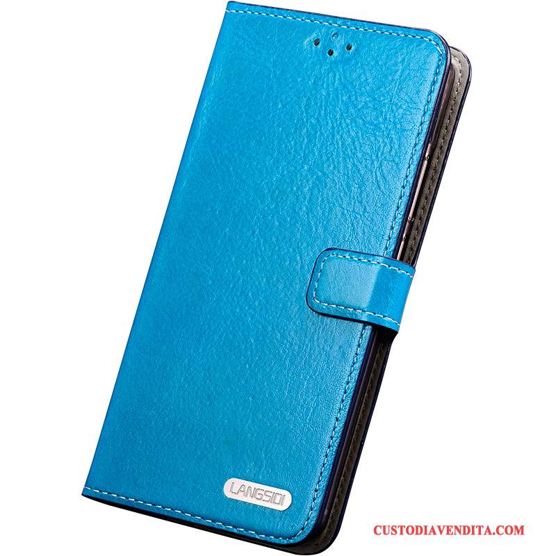 Custodia Samsung Galaxy S6 Edge + Silicone Anti-caduta Blu, Cover Samsung Galaxy S6 Edge + Folio Telefono