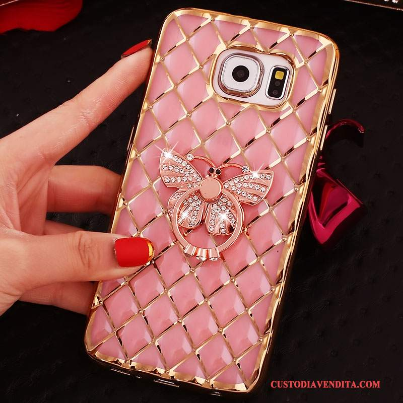 Custodia Samsung Galaxy S6 Edge + Strass Rosa Ring, Cover Samsung Galaxy S6 Edge + Silicone