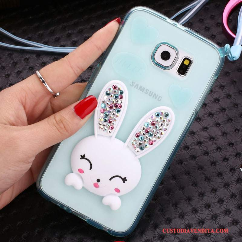 Custodia Samsung Galaxy S6 Edge + Strass Verdetelefono, Cover Samsung Galaxy S6 Edge + Cartone Animato