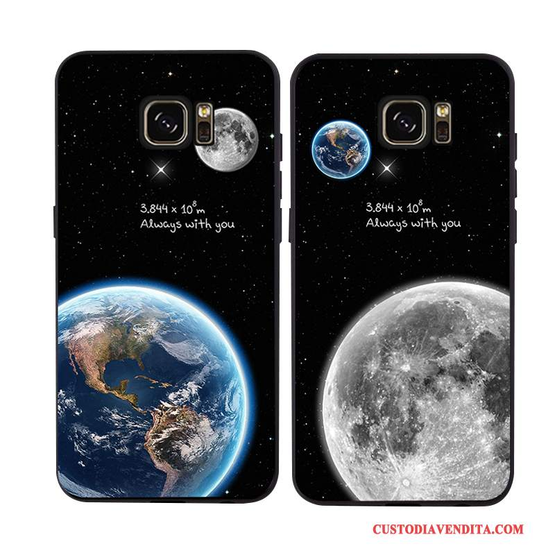 Custodia Samsung Galaxy S7 Edge Creativo Telefono Morbido, Cover Samsung Galaxy S7 Edge Silicone Nero Supporto