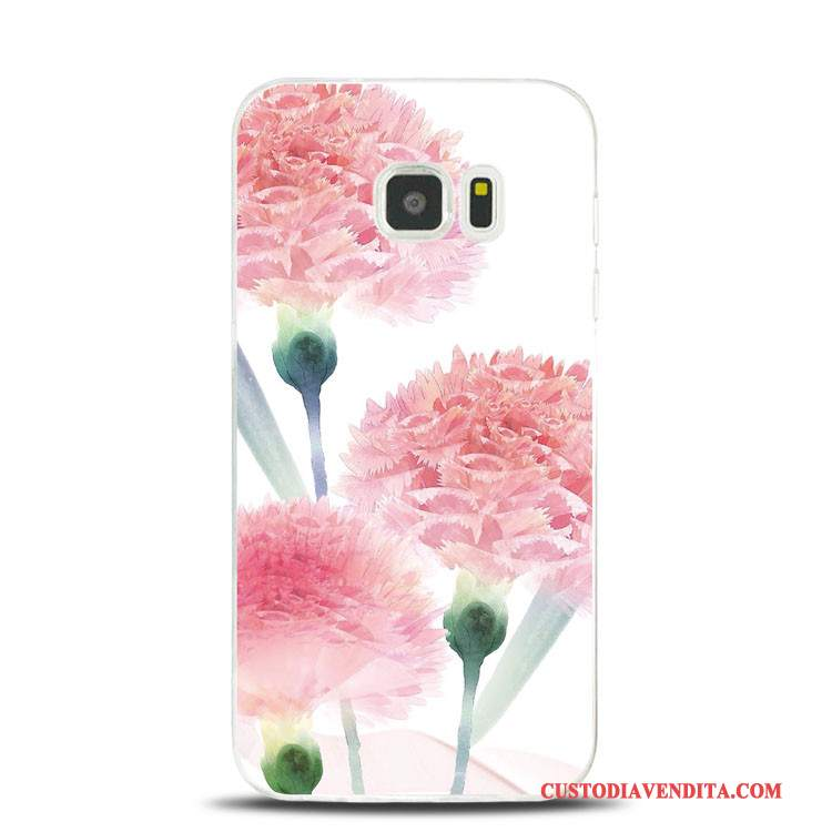 Custodia Samsung Galaxy S7 Edge Goffratura Morbido Fiori Di Pesco, Cover Samsung Galaxy S7 Edge Silicone Rosa Supporto