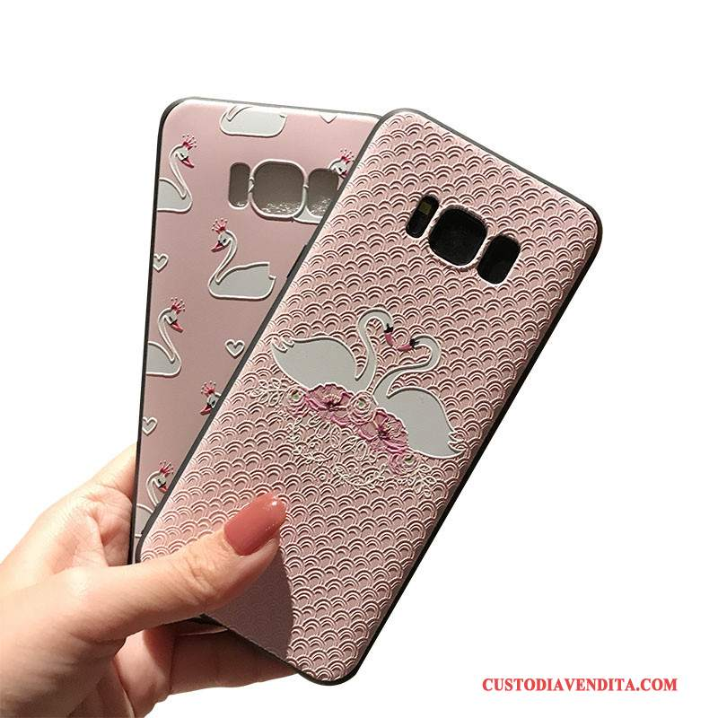 Custodia Samsung Galaxy S8+ Goffratura Morbido Rosa, Cover Samsung Galaxy S8+ Nero Supporto
