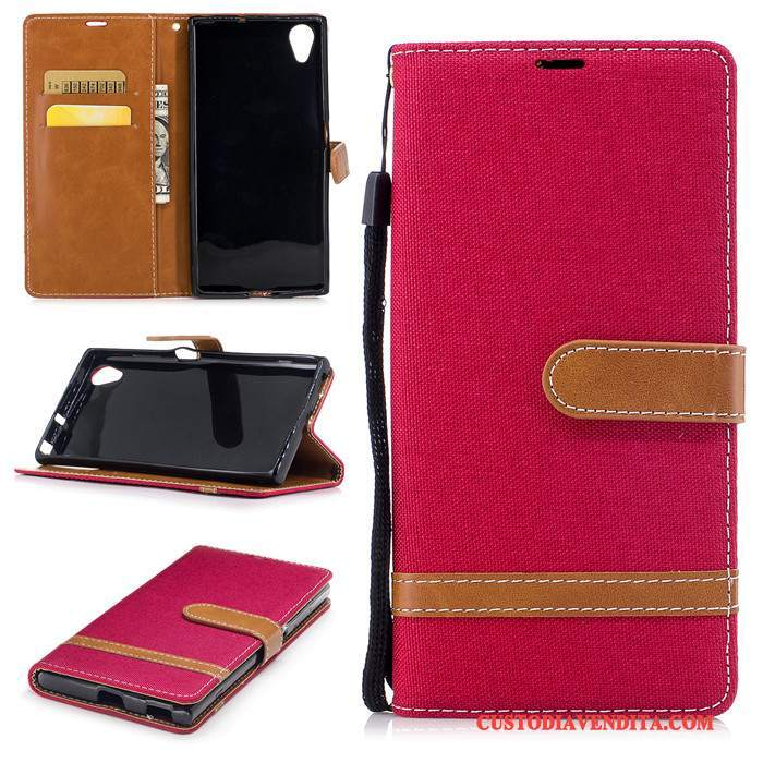 Custodia Sony Xperia Xa1 Plus Folio Rosso Anti-caduta, Cover Sony Xperia Xa1 Plus Silicone Hemmingtelefono
