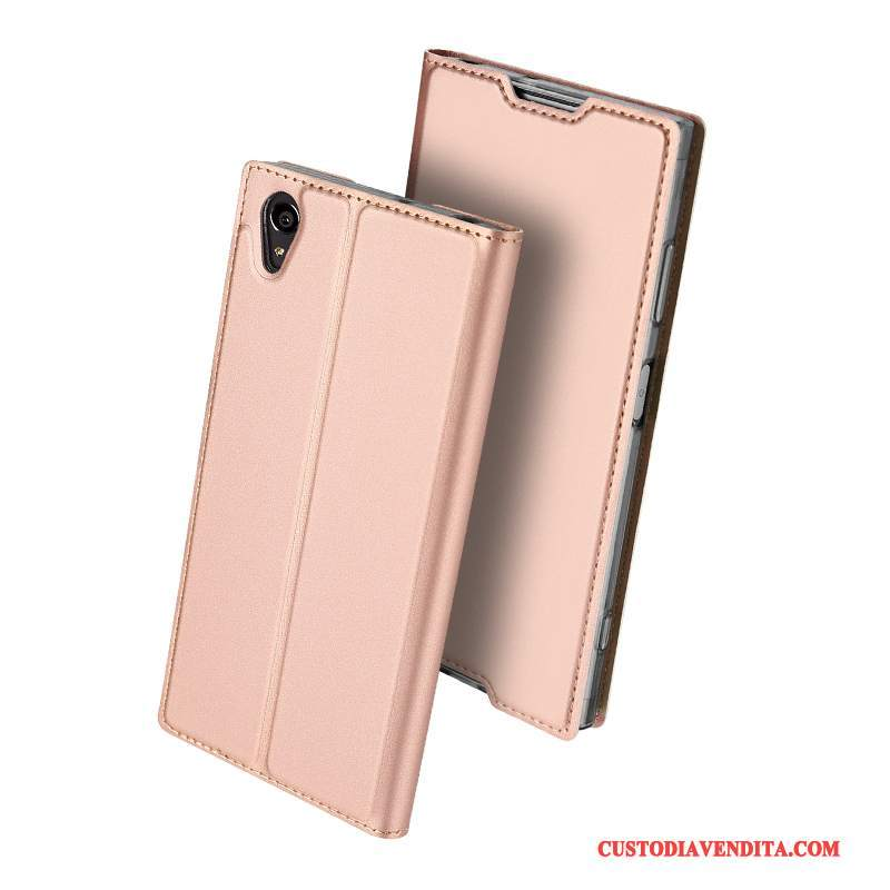 Custodia Sony Xperia Xa1 Plus Pelle Affari Carta, Cover Sony Xperia Xa1 Plus Protezione Sottili Rosa