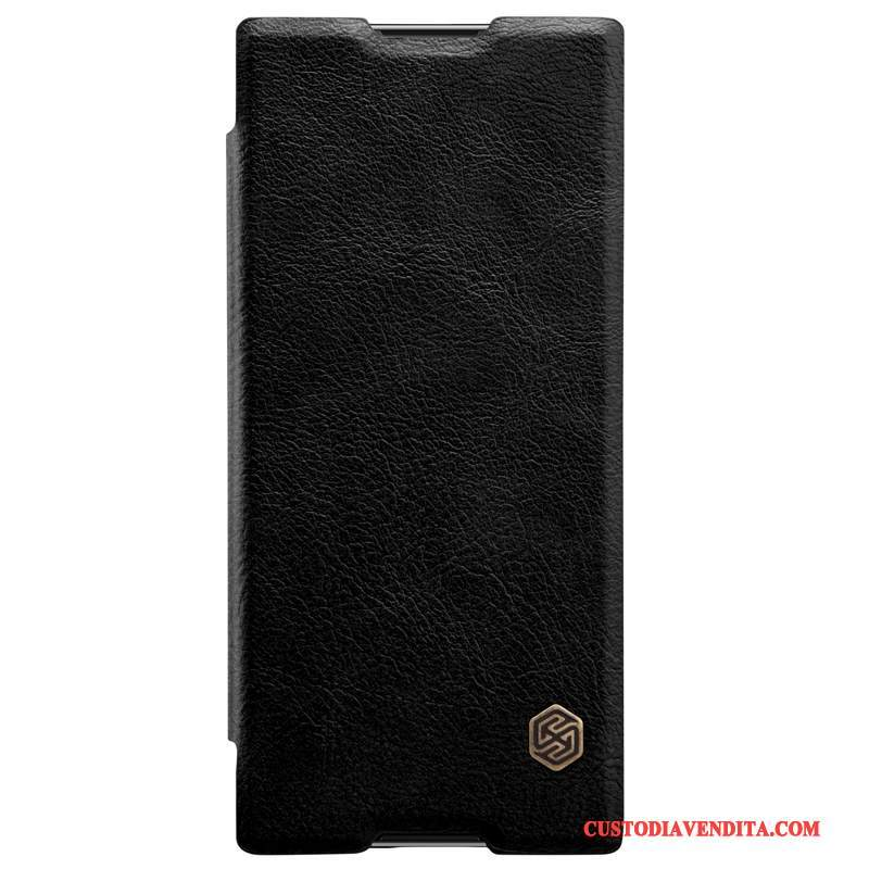 Custodia Sony Xperia Xa1 Plus Pelle Nero Oro, Cover Sony Xperia Xa1 Plus Folio Telefono Anti-caduta