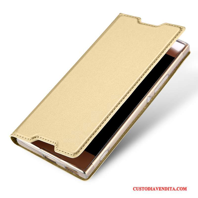Custodia Sony Xperia Xa1 Ultra Folio Anti-caduta Carta, Cover Sony Xperia Xa1 Ultra Pelle Affari Oro