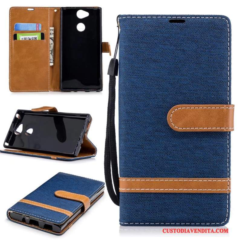 Custodia Sony Xperia Xa2 Folio Verde Denim, Cover Sony Xperia Xa2 Pelle Puro Supporto