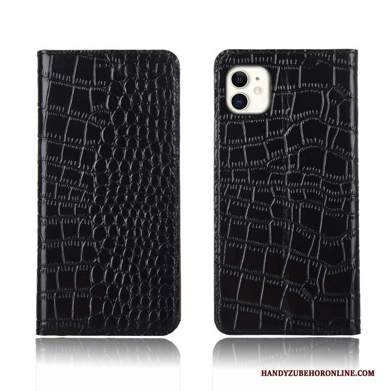 Custodia iPhone 11 Folio Modello Coccodrillotelefono, Cover iPhone 11 Pelle Nero Anti-caduta