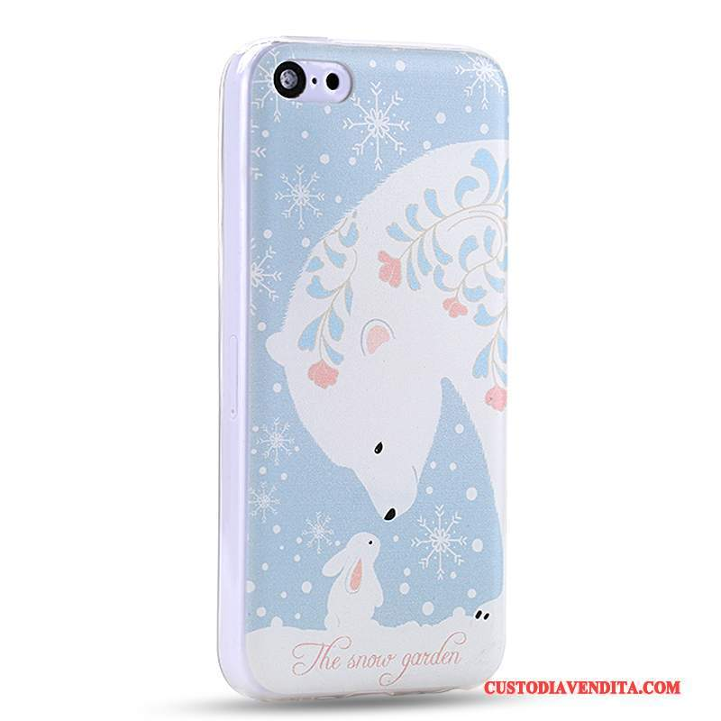 Custodia iPhone 5c Cartone Animato Anti-caduta Blu Chiaro, Cover iPhone 5c Creativo Morbidotelefono