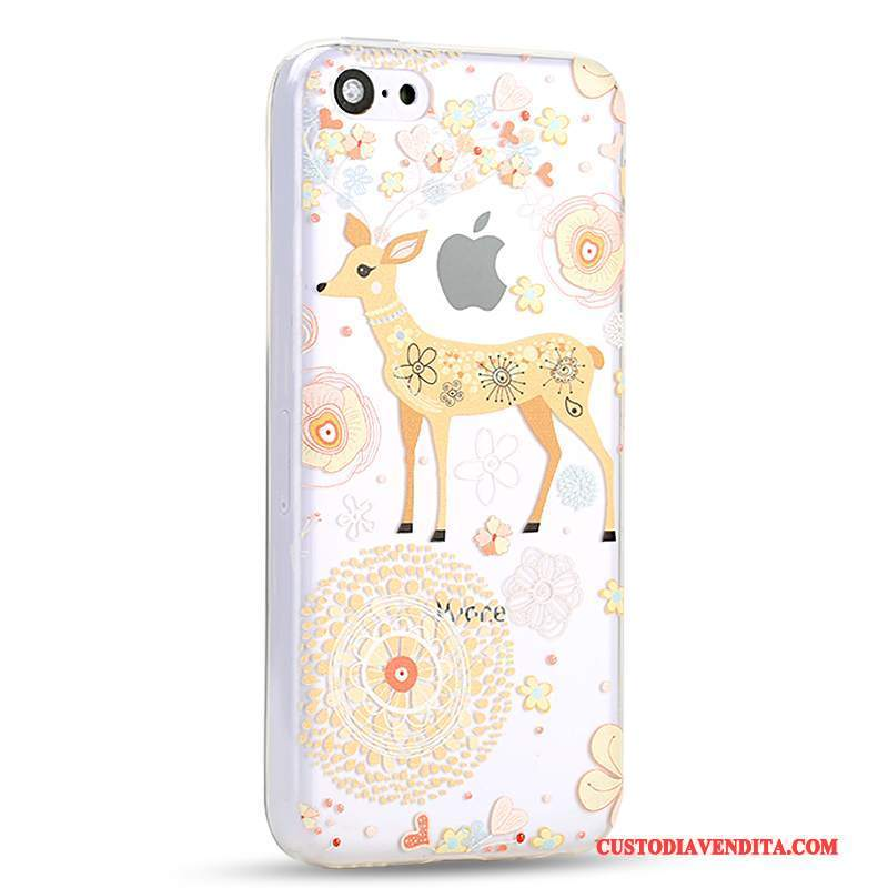 Custodia iPhone 5c Cartone Animato Coperchio Posteriore Anti-caduta, Cover iPhone 5c Creativo Giallo Tutto Incluso