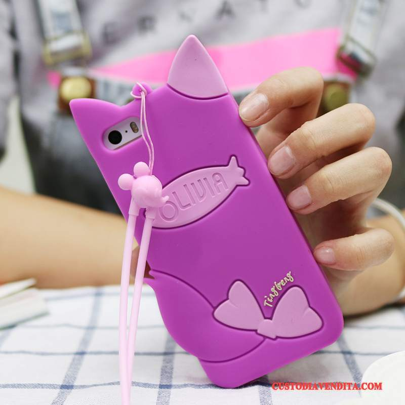 Custodia iPhone 5c Cartone Animato Porpora Grigio, Cover iPhone 5c Creativo Telefono Morbido