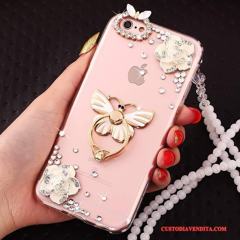 Custodia iPhone 5c Creativo Ring Rosa, Cover iPhone 5c Protezione Telefono Ornamenti Appesi