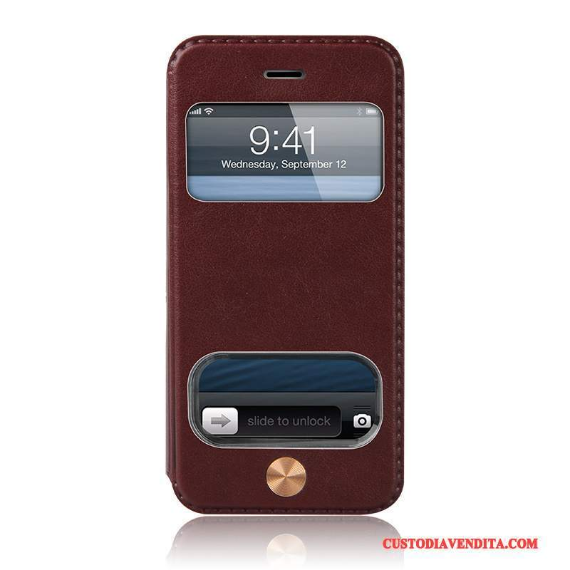 Custodia iPhone 5c Pelle Finestra Aperta Supporto, Cover iPhone 5c Folio Borsetelefono